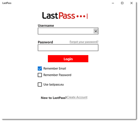LastPass desktop app for Windows login