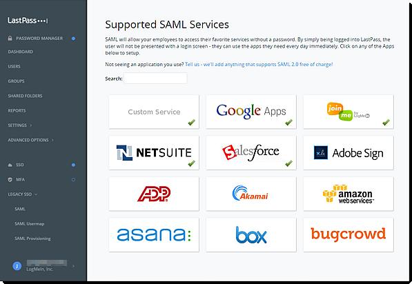 Ondersteunde SAML-services in de Enterprise Admin Console