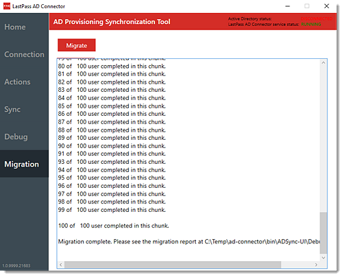 Migration tab of LastPass AD Connector