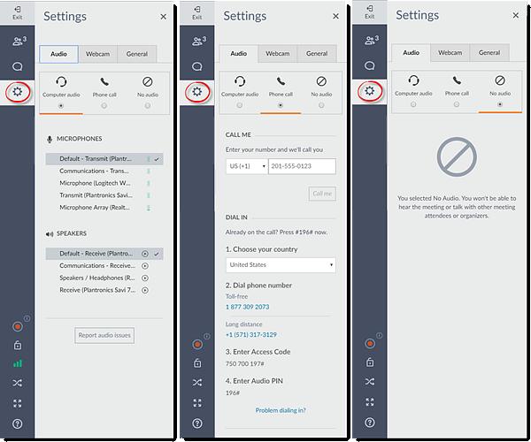 Alternar modos de áudio do Web App