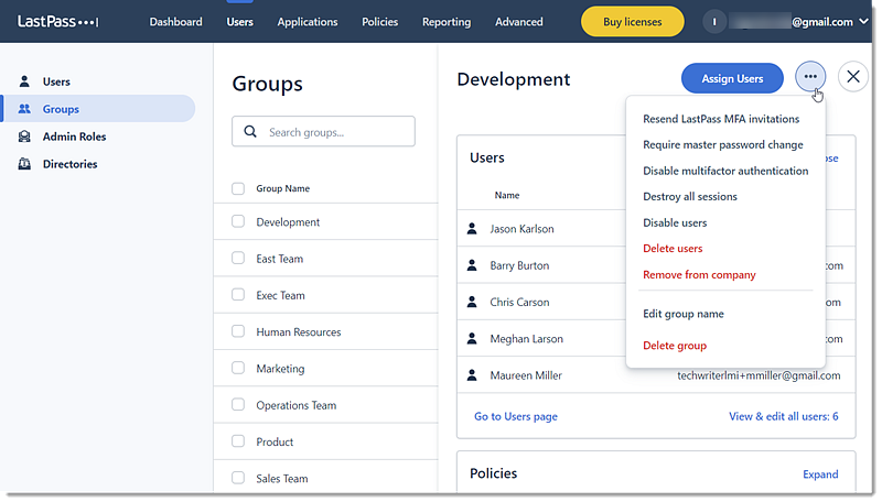 Actions available for user groups