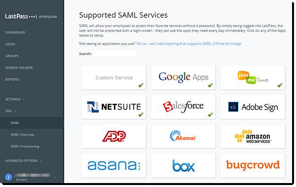 Enterprise Console de administração Serviços SAML suportados