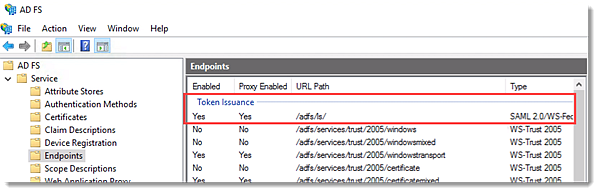 ADFS-URL-Pfad der Endpunkt-Tokenausstellung kopieren