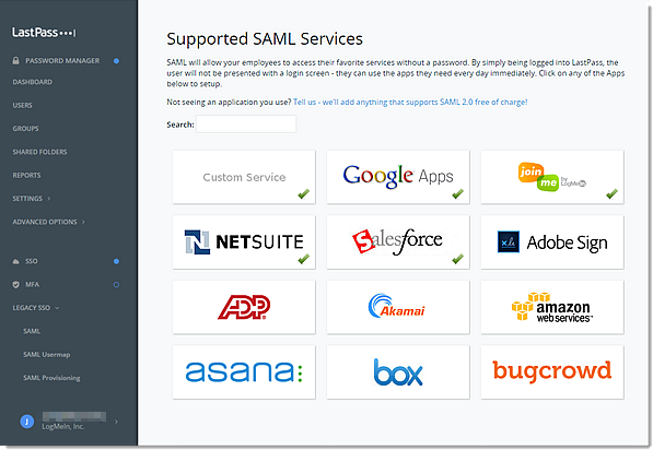 Services SAML pris en charge par la console d'administration Enterprise