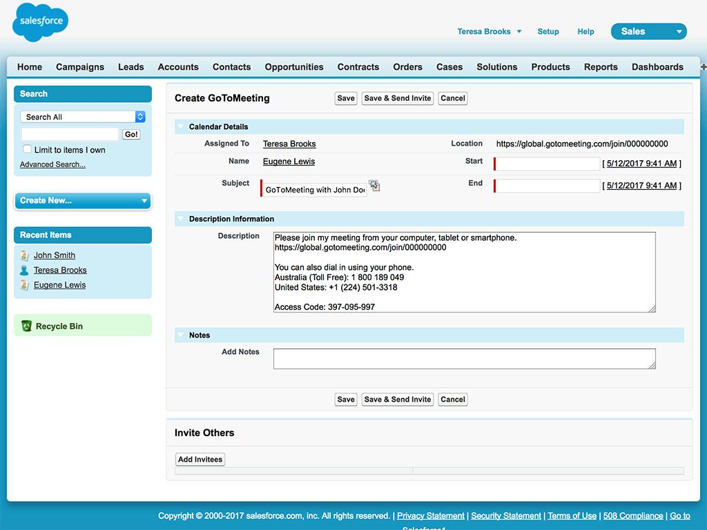GoToMeeting Salesforce Create