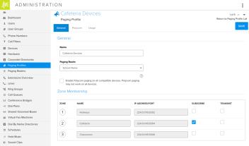 Beispiel für Multicast-Paging, Paging-Profil = Geräte in der Kantine
