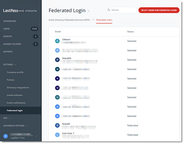 Admin Console Federated Users tab