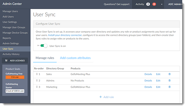 User Sync in Admin Center running