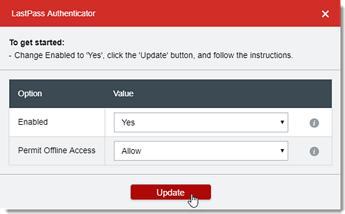 Select Yes for Enabled then Click Update