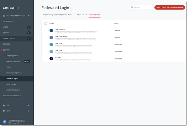 Federated Users page in the Admin Console