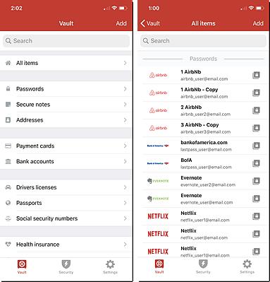 Vault iOS Vault e vistas de todos os itens
