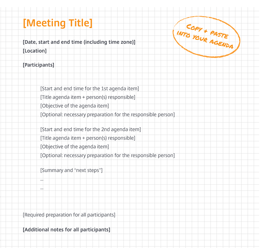 Professional meeting agenda template