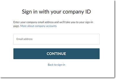Entrar com o ID da sua empresa