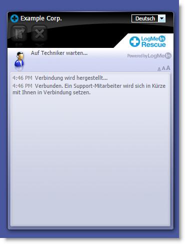 Standard-Benutzeroberfläche von Instant Chat
