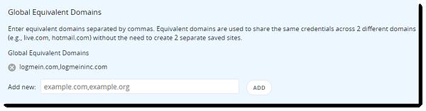 Globale gleichwertige Domains hinzufügen