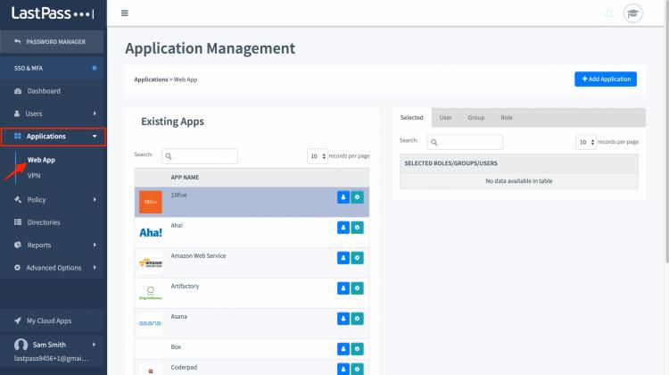 LastPass Web Applications