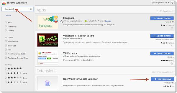 Install OpenVoice for Google Calendar