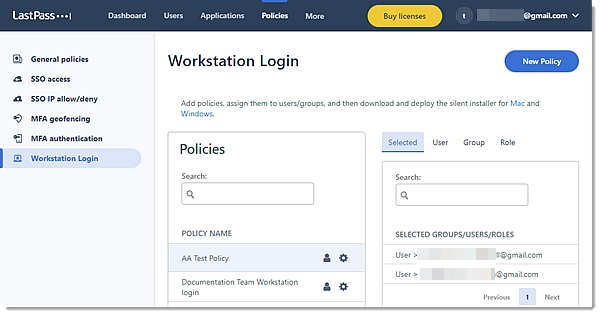 Workstation Login policy page in New Admin Console