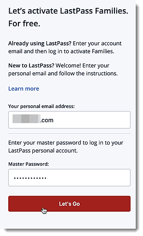 Activation with email and Master Password