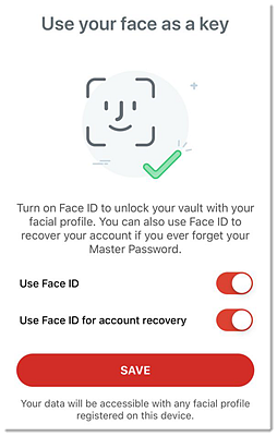 How do I use Face ID for account recovery in the LastPass app for iOS?