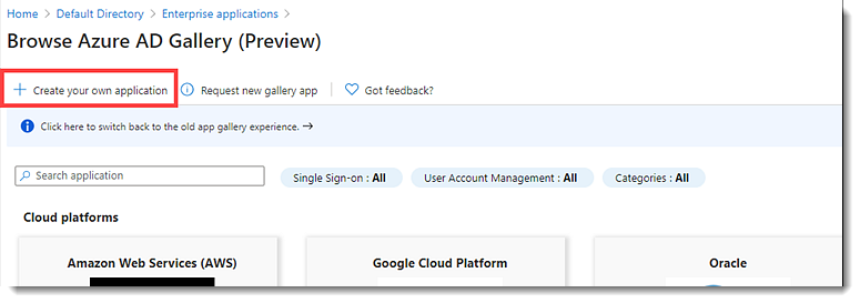 New application in Azure AD portal