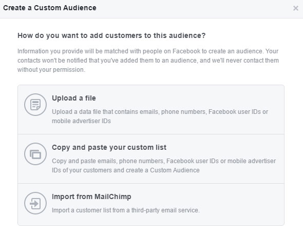 Creating a custom Facebook Audience