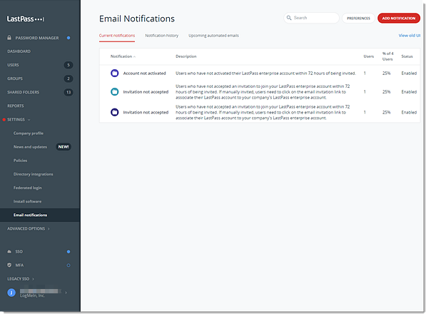 Notifications par e-mail de la console d'administration Teams
