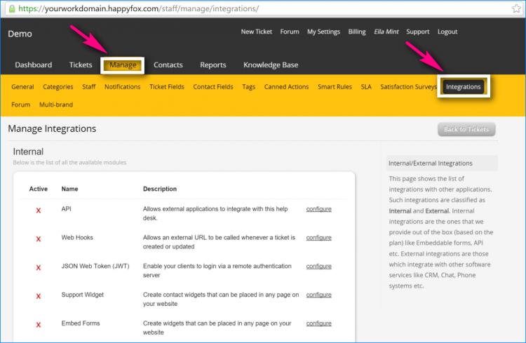 2nd select manage-integrations happyfox