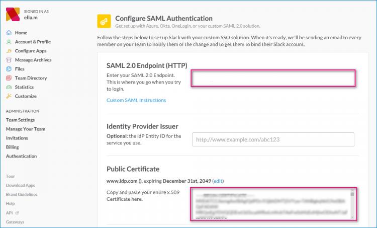 Slack SAML configuration