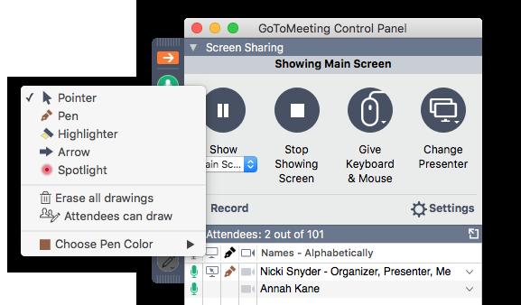 GoToMeeting Drawing Tools Panel