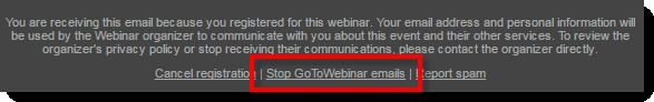 Stop GoToWebinar Emails