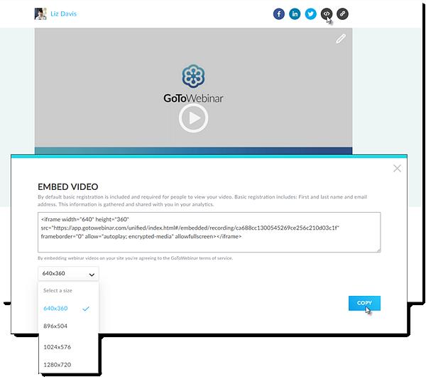 Vídeos incorporados no GoToStage