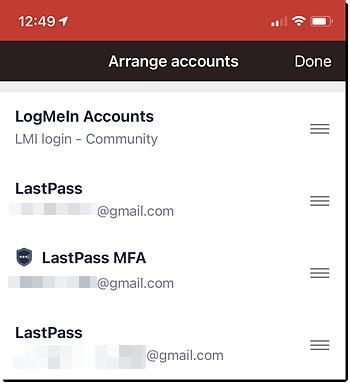 LastPass Authenticator (dark mode) arrange accounts