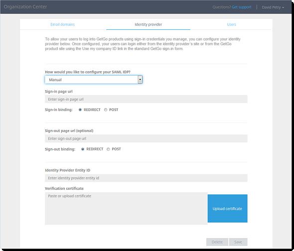 Organization Center - Identity Provider page