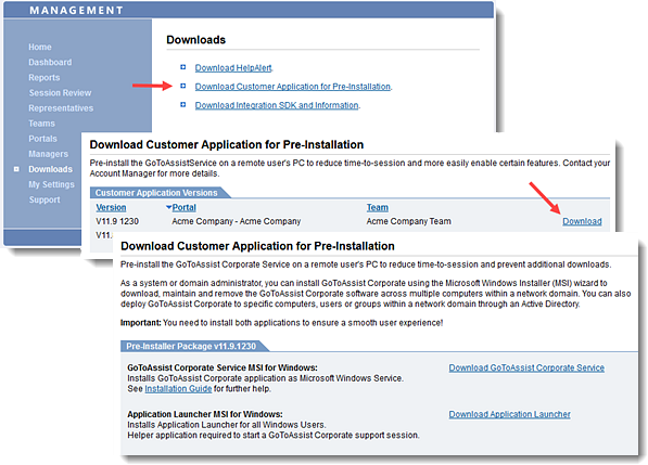 Download the GoToAssist Corporate Customer Pre-Installation Package