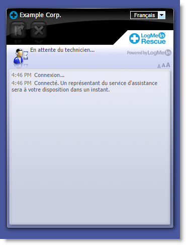 Interface standard d'Instant Chat