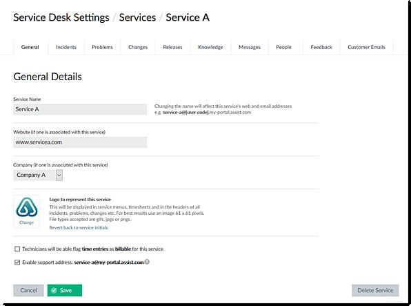 Selected Service Settings