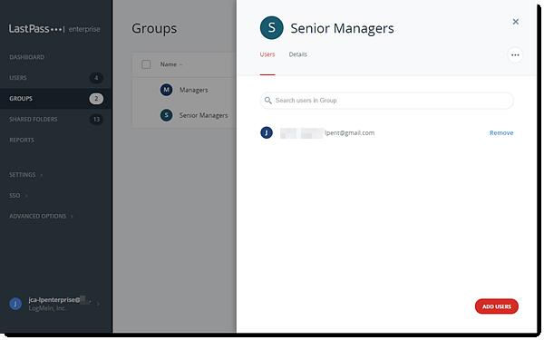 Groep gebruikers in Enterprise Admin Console