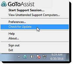 Update the GoToAssist Desktop Applications
