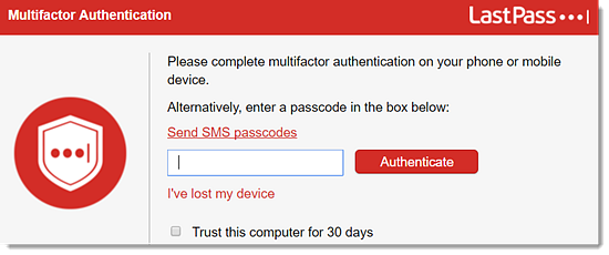 Multifactor Authentication window