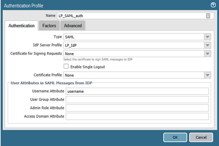 Authentication Profile Authentication tab