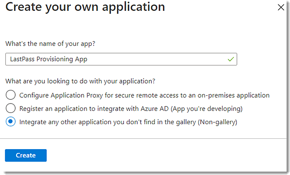 Create your own app in Azure AD portal