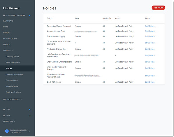 Enterprise Admin Console Policies. Add, Edit or Delete Policy.