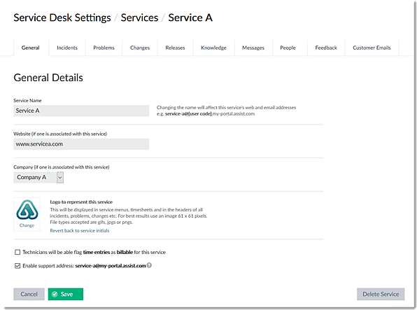 Selected Service Settings