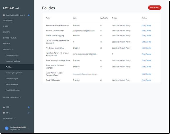 Enterprise Admin Console Policies. Add, Edit or Delete Policy.