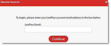 Enter LastPass Email Address