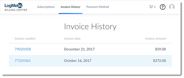 Invoice history in the Billing Center