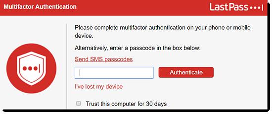 Multifactor Authentication window