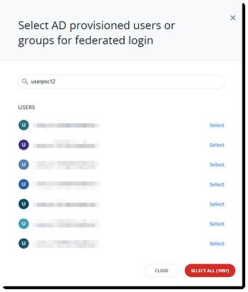 Selecione usuários ou grupos para converter para o ADFS