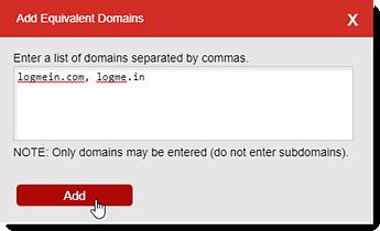 Adicionar domínios equivalentes